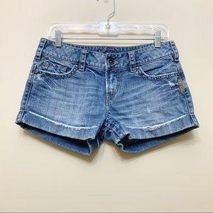 Silver Mika Distressed Cuffed Shorts Sz 28